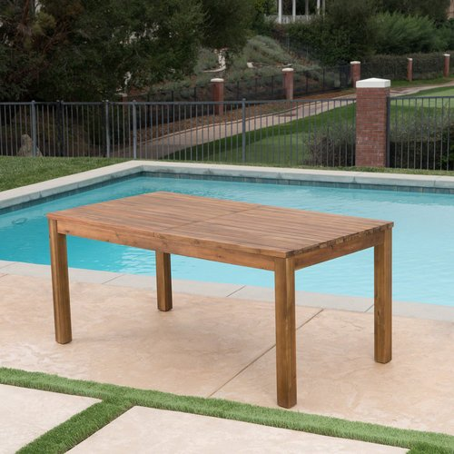 Millwood Pines Statler Outdoor Extendable Wooden Dining Table