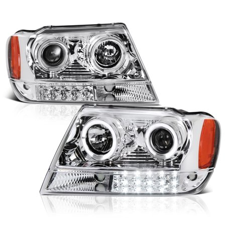 VIPMOTOZ LED Halo Ring Projector Headlight Assembly For 1999-2004 Jeep Grand (Jeep Headlamp Assembly)