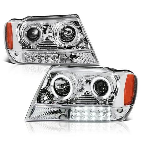 VIPMOTOZ LED Halo Ring Projector Headlight Assembly For 1999-2004 Jeep Grand Cherokee