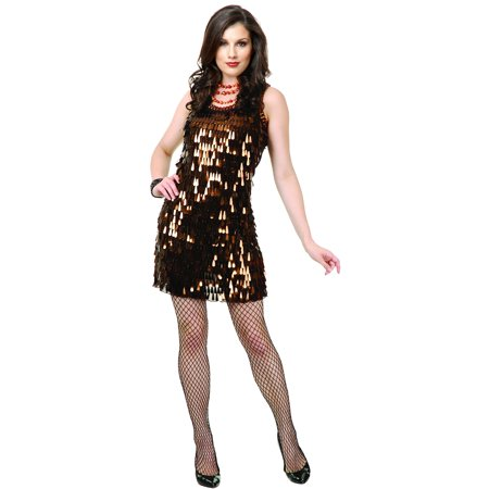 Womens  Brown Roaring 20s Tear Drop Sequin Flapper Costume Dress - Roaring 20 Dresses