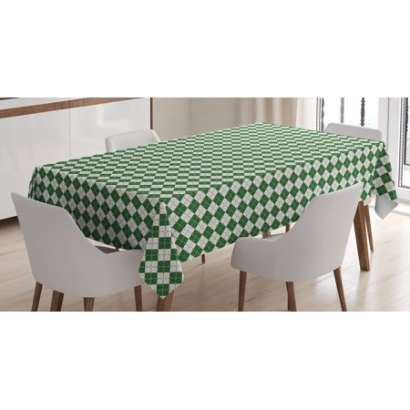 Christmas Decorations Tablecloth, Vintage Fashion Pattern of Argyle Checkered Scottish Irish Culture, Rectangular Table Cover for Dining Room Kitchen, 60 X 90 Inches, Green White, by - Checkered Table Covers