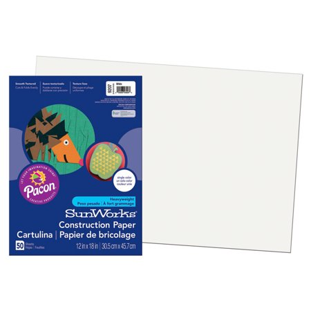 SUNWORKS 12X18 WHITE 50CT CONSTRUCTION PAPER