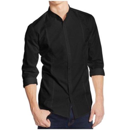 Alfani New Black Mens Size 2xl Slim Fit Banded Collar