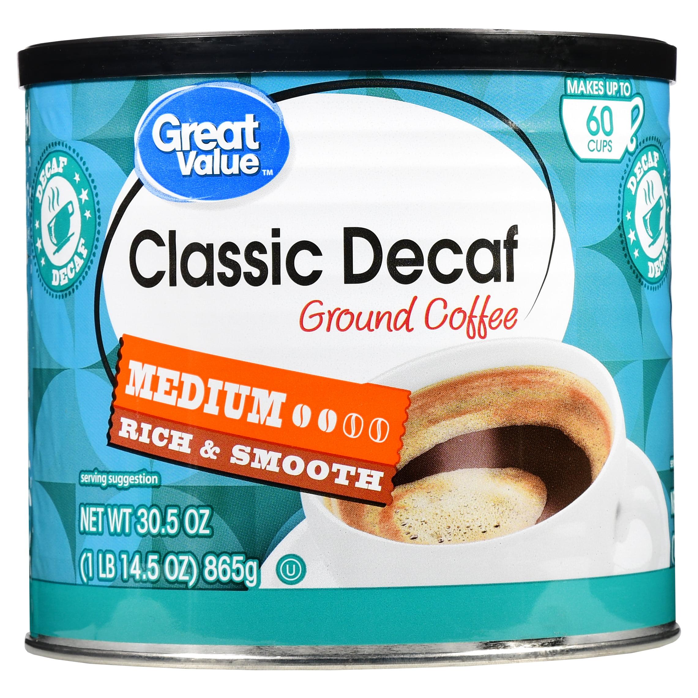 Great Value Classic Decaf Ground Coffee, Medium Roast, 30.5 oz