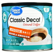Great Value Classic Decaf Ground Coffee, Medium Roast, 30.5 oz