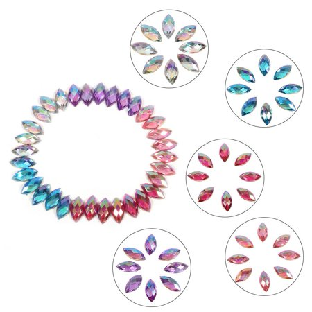 500pcs 7*15mm Crystal Rhinestones Acrylic Flat Back Horse Eye Shape Decor For Clothes Phonem, Flat Back Bead, Garment Accessories