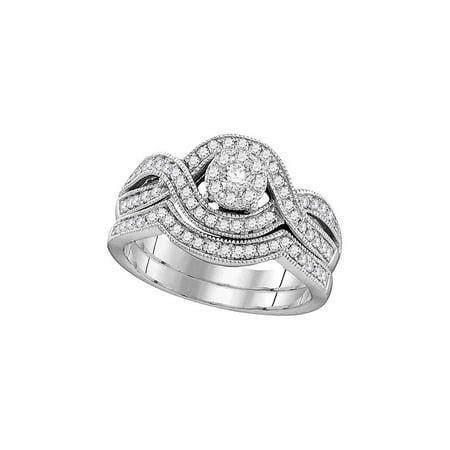 10kt White Gold Womens Round Diamond Milgrain Twist Bridal Wedding Engagement Ring Band Set 1/2 Cttw - image 1 of 1