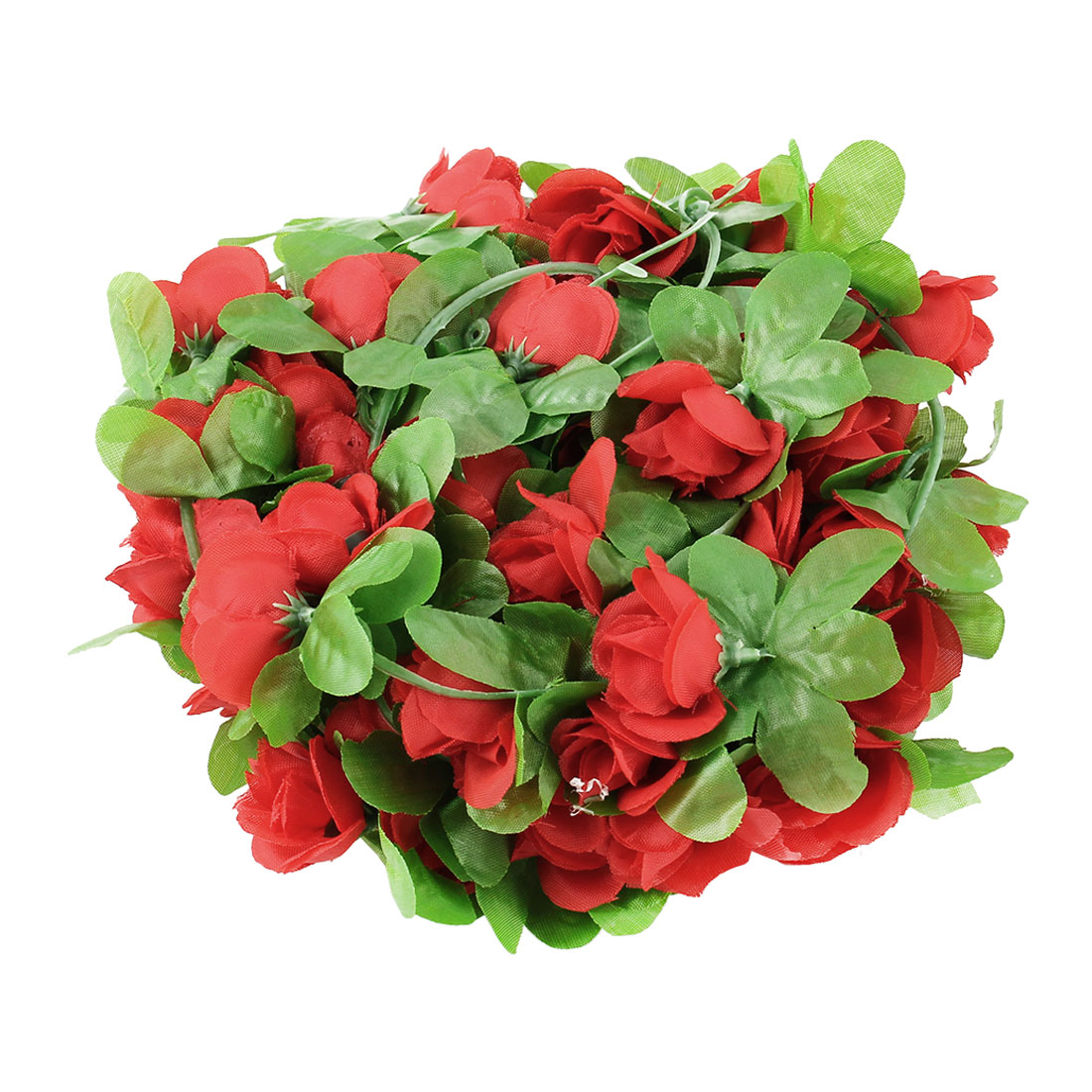 Home Wedding Plastic Artificial Flower Hanging Ivy Vine Red 7.2ft Length 2pcs
