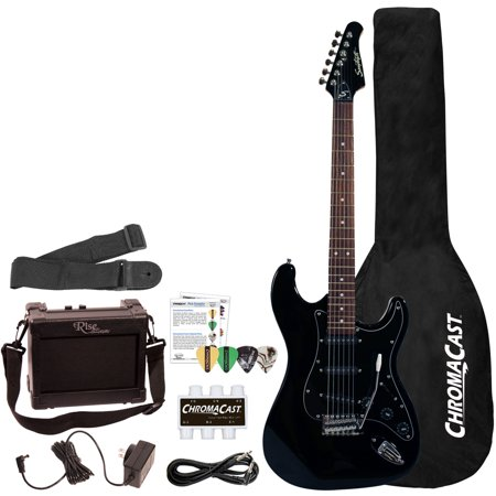 - Sawtooth ES Series ST Style Electric Guitar Beginner's Pack, Black with Black Pickguard