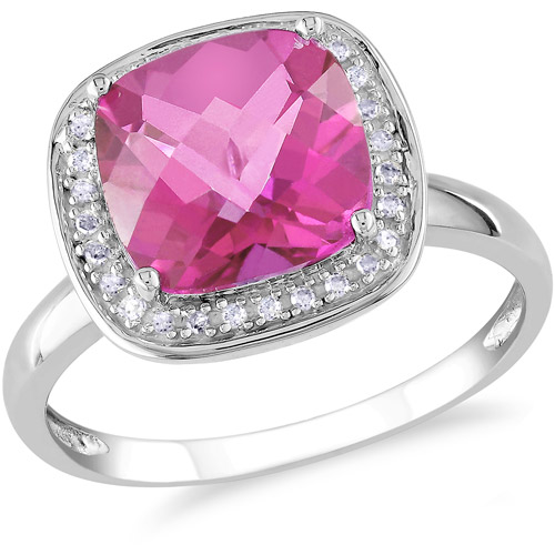 3-4/5 Carat T.G.W. Cushion Checkerboard Pink Topaz and 1/10 Carat T.W. Diamond Cocktail Ring in 10kt White Gold