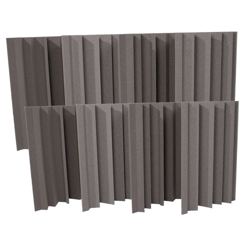 Seismic Audio 8 Pack of Charcoal Acoustic Foam Corner Bass Traps - Sound Dampening Panels - SA-FMBST-Charcoal-8Pack
