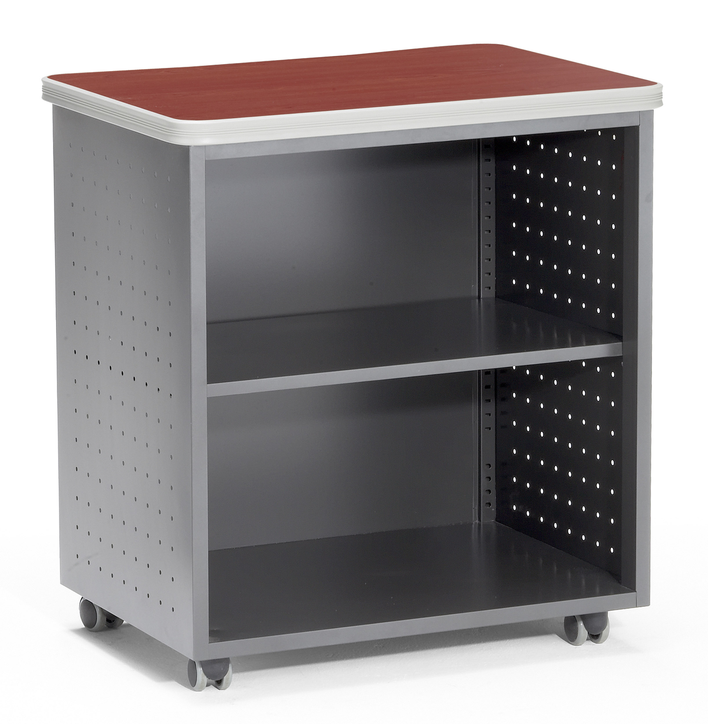 66745-CHY Office Furniture Mesa Series 27.50 Inch x 19.75 Inch Mobile Shelf CHERRY laminate top Wheeled Utility Table