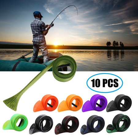 5/10Pcs Fishing Rod Sock Cover Sleeve, PET Braided Mesh Rod Protector Pole Gloves Fishing Gear Tools Accessories for Fly, Spinning, Casting, Sea Fishing Rod (Two Type, One With 5pcs Rod Straps Belts) Fly Fishing Steel Rod