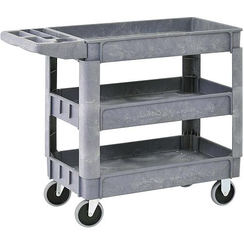 "Sandusky 3-Shelf Heavy-Duty Utility Cart with 5"" Casters, PUC254635-3"
