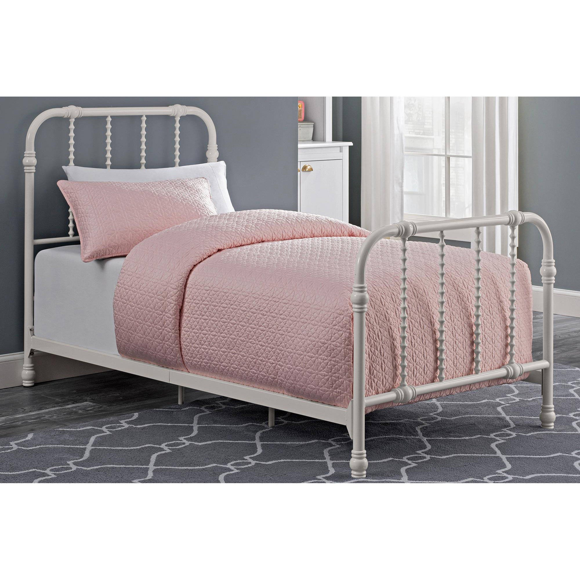 dorel home dhp jenny lind scroll twin metal bed white