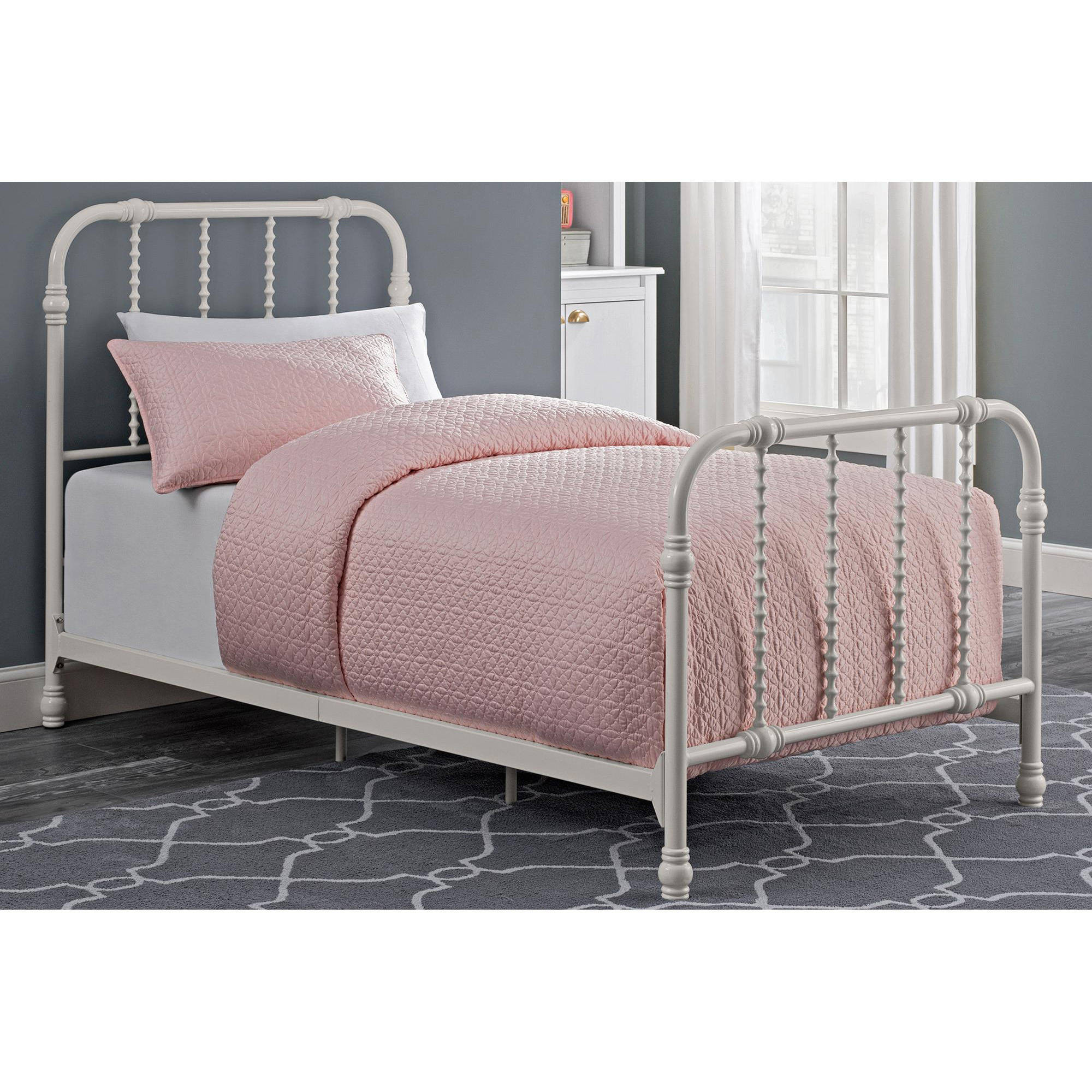 Dorel Home DHP Jenny Lind Scroll Twin Metal Bed, White