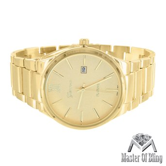 14k Gold Tone Watch Ladies Geneva Platinum Stainless Steel Case 43MM Bezel