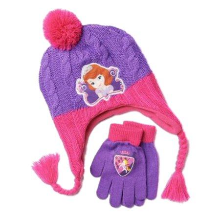 69296b6d800fd0 Disney - Disney Sofia the First Girls Pink & Purple Peruvian Trapper Hat &  Gloves Set - Walmart.com