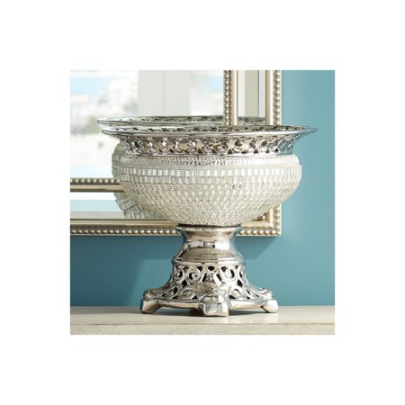 "Kensington Hill Victoire 10 1/2"" High Crystal and Silver Ceramic Bowl"