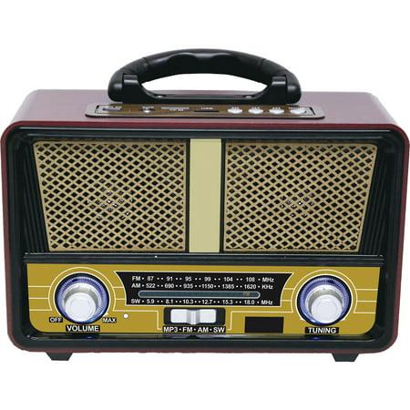 QFX RETRO-90 Retro AM/FM/SW 3-Band Radio with Bluetooth (Am Fm Sw Radio)