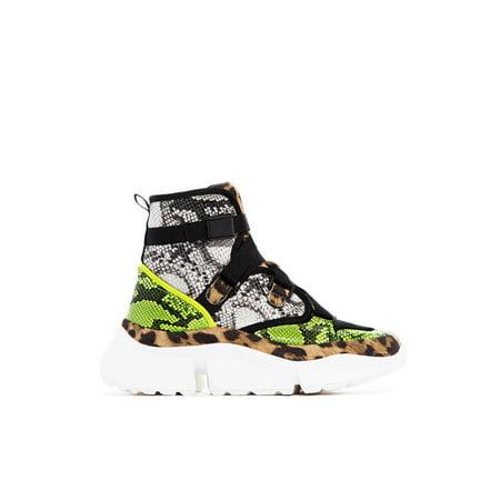 Cape Robbin Supertars Leopard High Top Lace Up Platform Fashion Sneakers Bootie (10, Leopard