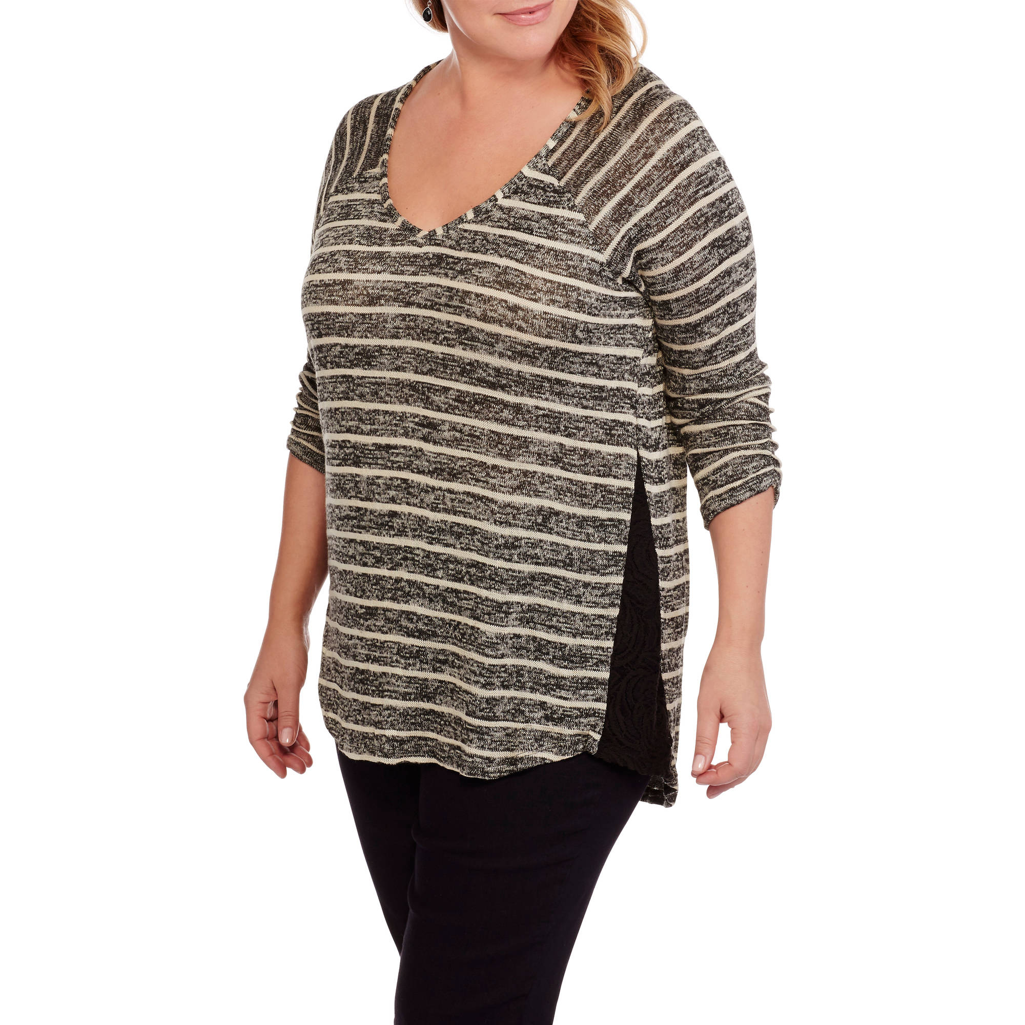 French Laundry Women's Plus Vneck Marled Ribbed Tunic with Side Seam Lace
