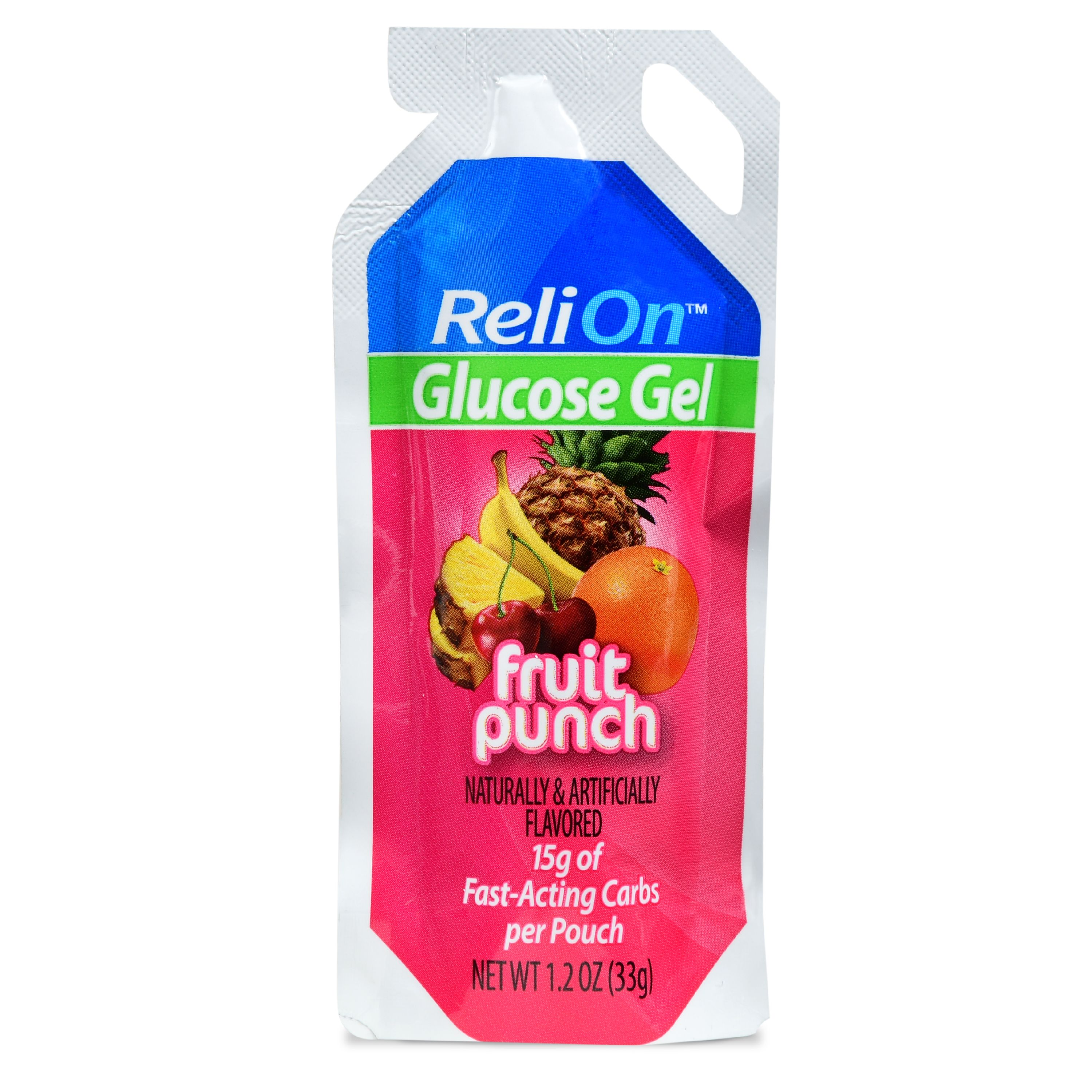 (2 Pack) ReliOn Fruit Punch Glucose Gel, 1.2 Oz