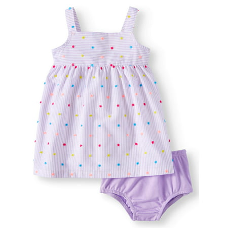 Striped Woven Babydoll Dress & Diaper Cover 2piece Set (Baby Girl) - Adult Baby Girl Dress