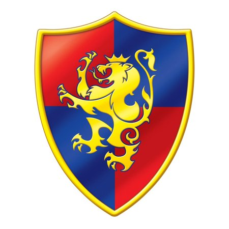 Club Pack of 24 Red, Blue and Yellow Medieval Lion Crest Cutout Decorations 16.75