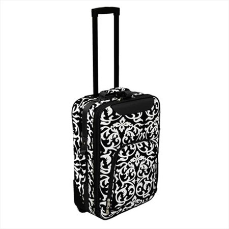 Image of All-Seasons 816701-501 20 in. Damask Print Rolling Carry-On Luggage Suitcase, Black Trim