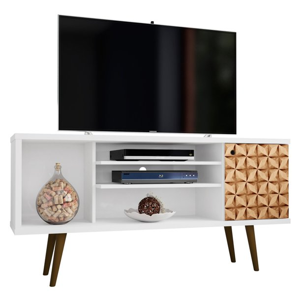 "Liberty 53.14"" Mid-Century - Modern TV Stand with 5 Shelves and 1 Door in White and 3D Brown Prints"