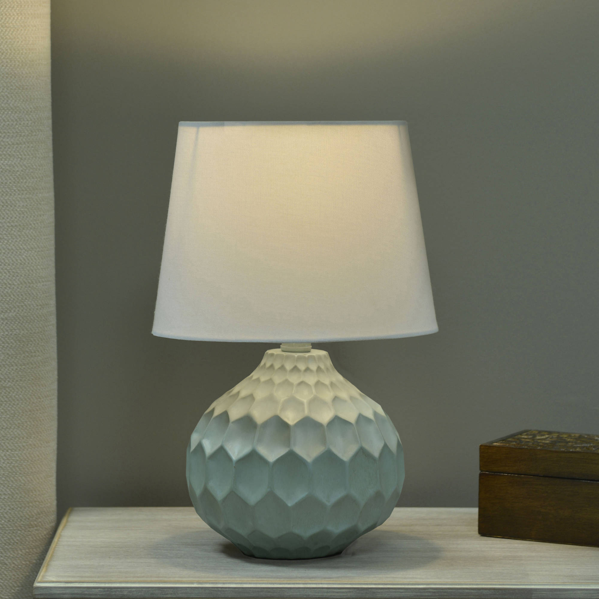 Click here to buy Better Homes and Gardens Faceted Table Lamp with Linen Shade by JIMCO LAMP CO..