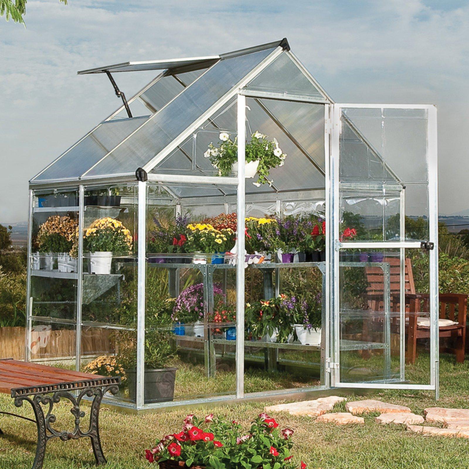 Palram Hybrid Greenhouse, 6' x 14', Silver