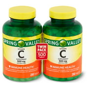 Spring Valley Vitamin C Supplement with Rose Hips, 500 mg, 250 count, 2 pack