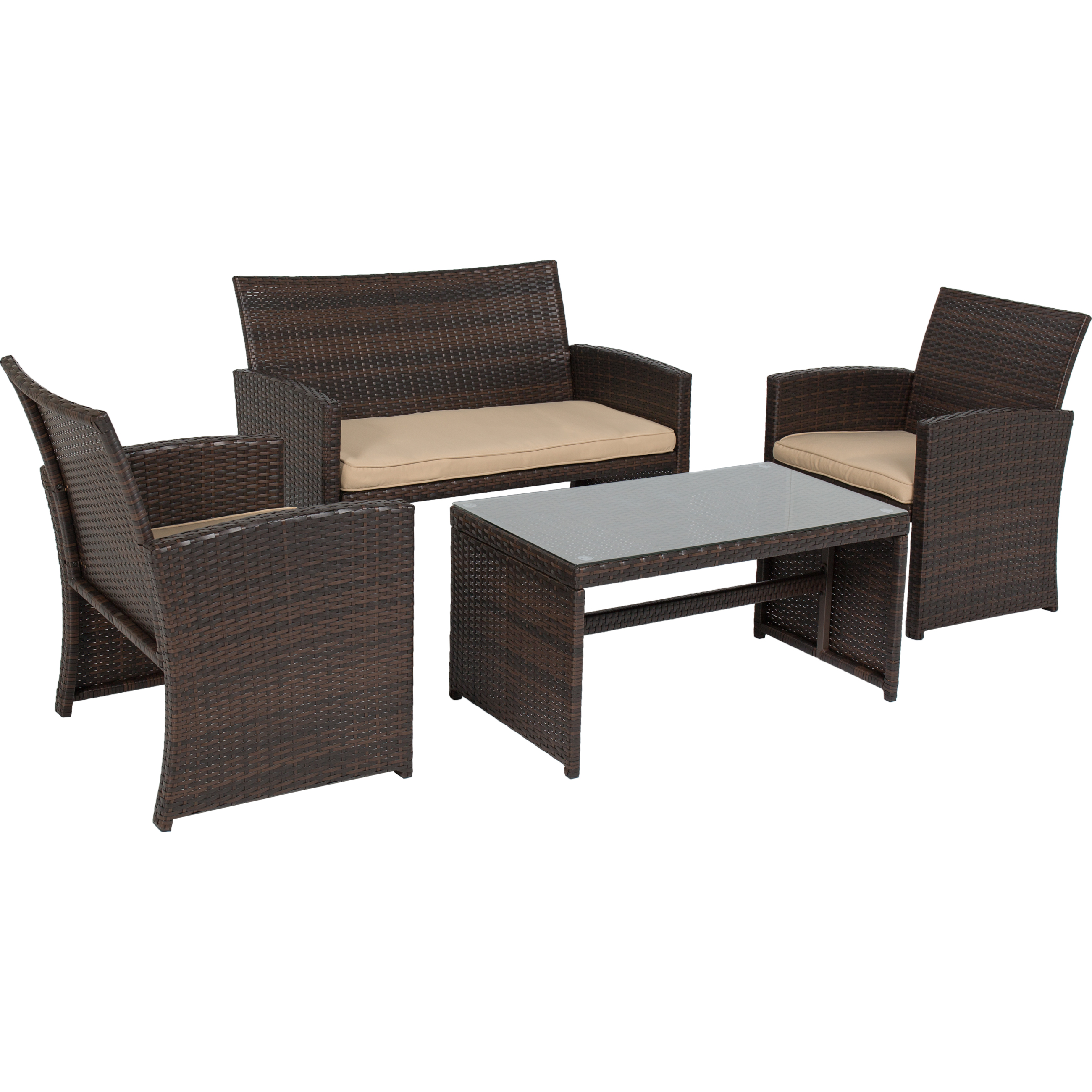Best Choice Products 4pc Wicker Outdoor Patio Furniture Set Cushioned Seats    Walmart.com