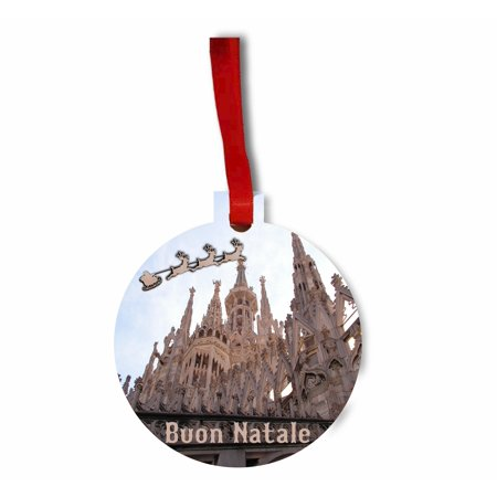 Santa and Sleigh Riding Over The Milan Cathedral (Duomo) TM Flat Round-Shaped Hardboard Holiday Tree Ornament Made in the USA