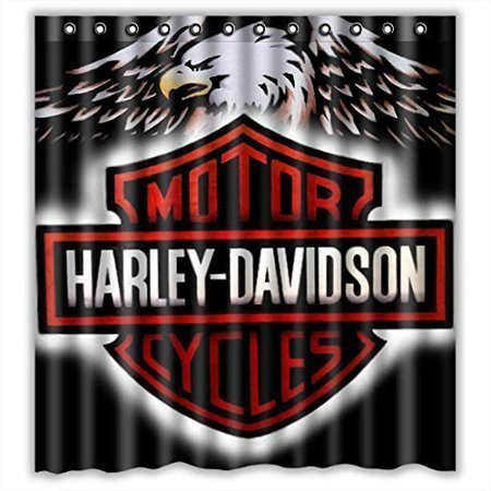 DEYOU Comfort Style Harley Davidson Logo Pattern Design Shower Curtain Polyester Fabric Bathroom Shower Curtain Size 66x72 inches