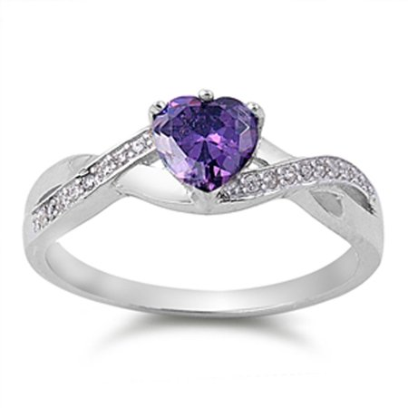 Wallace Sterling Violet (Men Women Sterling Silver Violet CZ Heart Promise Ring 6MM ( Size 5 to 11 ))