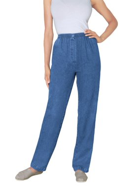 Woman Within Women's Plus Size Petite Elastic-Waist Cotton Straight Leg Pant