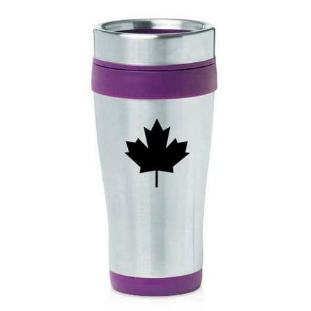 16oz Insulated Stainless Steel Travel Mug Maple Leaf (Purple)