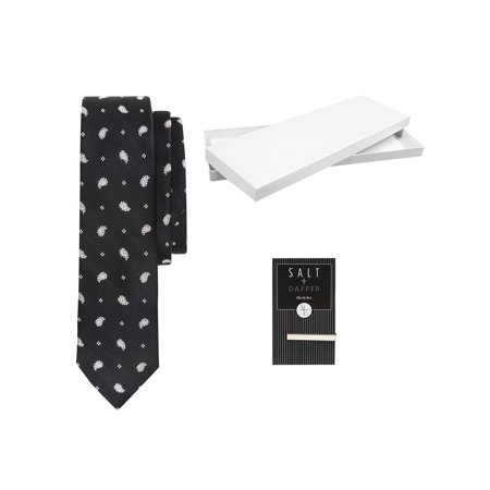 Salt & Dapper Men's Woven Silk Luxury Tie With Tie Bar & Giftbox - Black