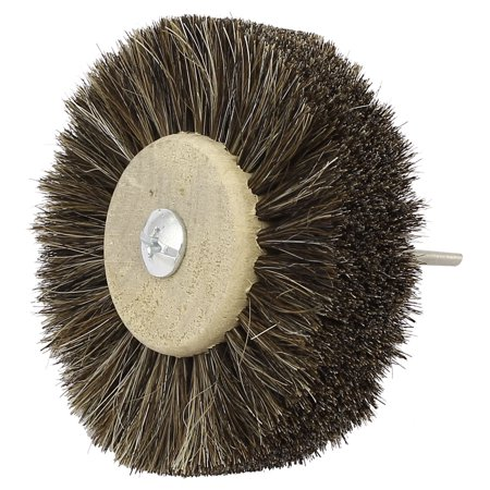 80mm Dia Head 3mm Shank Wooden Hub Horse Hair Wheel Brush Jewelry Polishing Tool