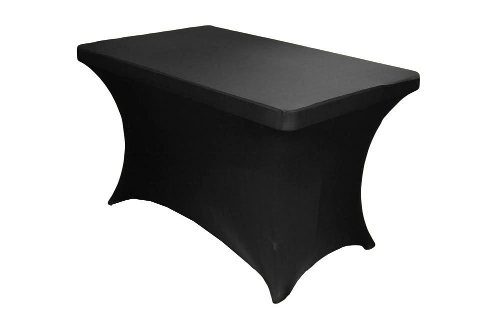 4 Feet Rectangular Spandex Fitted Elastic Stretchable Tablecloth Black Black X24, USA,... by