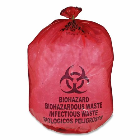 Medegen Red Biohazard Waste Bag   25 Gal   31  X 41    1 10 Mil  28 Micron  Thickness   Red   50 Box  Mdrb142755