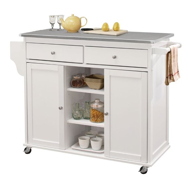 Bowery Hill Stainless Steel Top Mobile Kitchen Island In White Walmart Com Walmart Com
