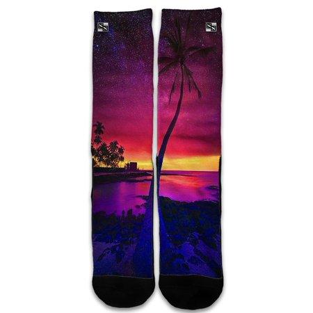 Custom Elite Style Athletic Sport Socks Crew 18 Inch / Palm Tree Stars And Sunset