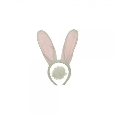White & Pink Bunny Ears Headband with Fluffy Tail (Bunny Headbands)