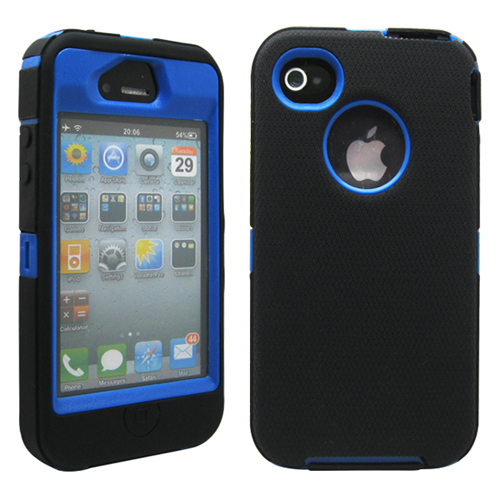 Black & Blue Three Layer Silicone PC Heavy Duty Rugged Protective Case Cover for iPhone 4 4G 4S