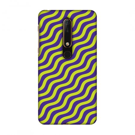 New Nokia 6 2018 Case - Waves, Hard Plastic Back Cover, Slim Profile Cute Printed Designer Snap on Case with Screen Cleaning Kit