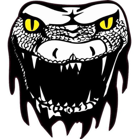 - 4in x 4.5in Yellow Eyes Snake Head Sticker Vinyl Animal Decal Car Stickers